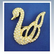 Vintage NAPIER Graceful Rhinestone Swan Pin