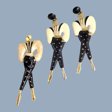 Vintage 1980's 'Fashion Ladies' Enamel Pin & Earrings