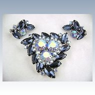 Vintage WEISS Blue Rhinestone Brooch Pin & Earrings