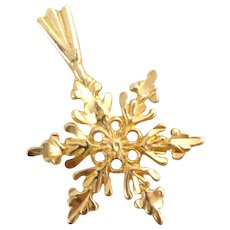 Estate 14k Gold Snowflake Pendant