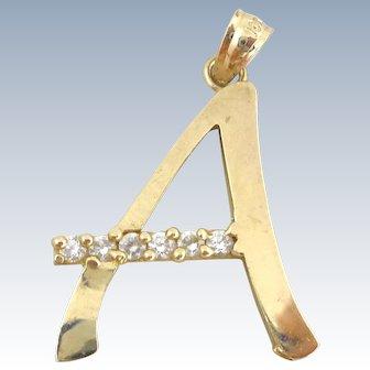Estate 10K Gold & Cz's Letter Initial A Pendant