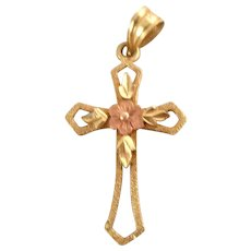 Estate Dainty 14K Yellow Rose Gold Flower Cross Pendant Charm