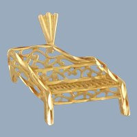Estate 14K Gold Filigree Baby Grand Piano Pendant