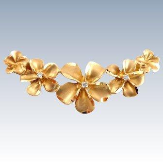 14k Gold Diamond Accent Hawaiian Plumeria Flowers Slide Pendant