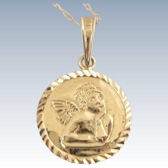 Estate 14K Gold Guardian Angel with Prayer Pendant Necklace