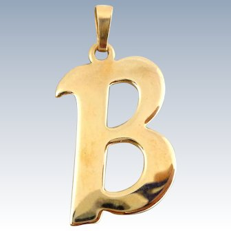 Estate 14K Initial Letter B Pendant Charm