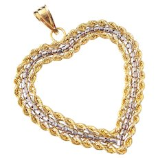 Estate Lg 14K Yellow White Gold Rope Open Heart Pendant Original Box