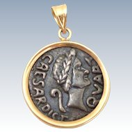 Estate Rare 14K Gold Pendant Caesar's Palace Replica Coin