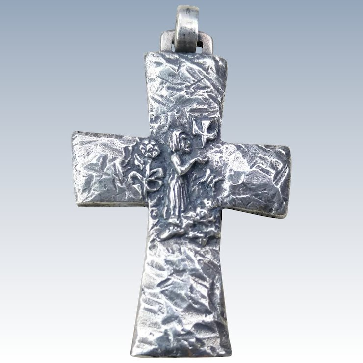 Rare james avery st francis sterling silver cross pendant river rare james avery st francis sterling silver cross pendant aloadofball Choice Image