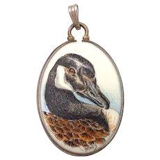 Vintage Scrimshaw Miniature Canadian Goose SANDRA BRADY Sterling Pendant
