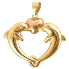 Estate 14k Yellow Rose Gold Dolphin Heart Pendant