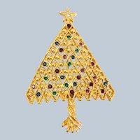 Vintage Beautiful Lattice Multi Color Rhinestone Christmas Tree