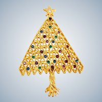 Vintage Beautiful Lattice Multi Color Rhinestone Christmas Tree