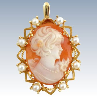 Estate 14K Gold Shell Cameo & Cultured Pearls Pin Pendant