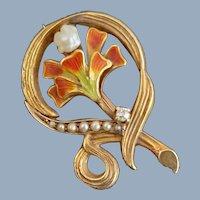 Early 14k ART NOUVEAU Enamel Flower Diamond & Seed Pearl Pin