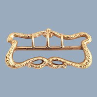14K Gold Ornate Victorian Buckle Fob Pin