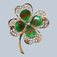 Vintage 800 Silver Filigree Enamel Lucky Four Leaf Clover Pin