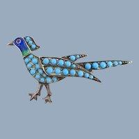 Early Jugendstil Art Nouveau 935 Germany Turquoise & Enamel Bird Pin