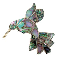 Vintage Mexico Large Abalone Hummingbird Pin Pendant
