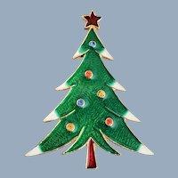 Vintage Signed ART Enamel Christmas Tree Pin