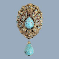 Vintage Lg Ornate Art Glass Turquoise Seed Beads Rhinestones Pin Pendant