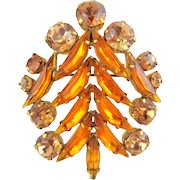 Vintage AUSTRIA Topaz Citrine Rhinestone Christmas Tree Pin