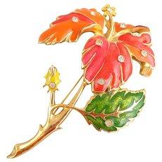"Vintage Huge BARRERA Mod Enamel ""Fashion Flower"" Hibiscus Pin"