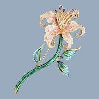 Vintage BOB MACKIE Enamel & Rhinestone Tiger Lily Pin