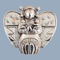 1992 Carol Felley Sterling Silver Southwestern Storyteller Angel Pin Pendant
