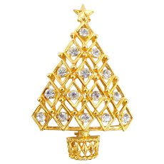 Vintage Geometric Rhinestone Christmas Tree Pin