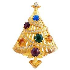 Vintage EISENBERG ICE Multi Colored Rhinestone Christmas Tree Pin Book Piece