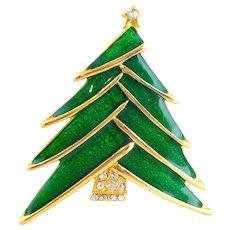 Dynamic Vintage Green Enamel Rhinestone Christmas Tree Pin