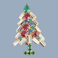 Vintage Multi Rhinestones Christmas Tree Pin