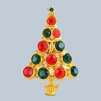 Vintage Red Green Rhinestone Christmas Tree Pin