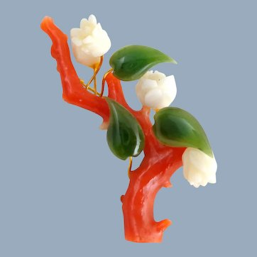 Vintage Branch Coral Carved Roses Jade Leaves Pin