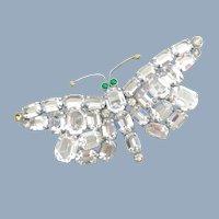 Vintage CZECHOSLOVAKIA Unfoiled Rhinestone Butterfly Pin