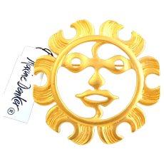 Vintage MAXINE DENKER Modern Tribal Sun Face Pin Original Tag