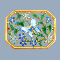 Early Hand Painted Enamel on Brass Floral Pin