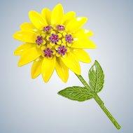 Vintage Mod Yellow Enamel Pink Rhinestones Flower Power Pin