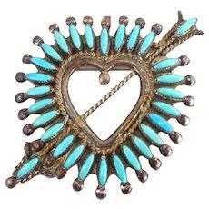 Dan Etsate ZUNI Turquoise Needlepoint Sterling Silver Heart Arrow Pin Pendant