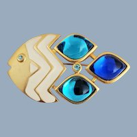 Vintage Enamel Fish Big Blue Cabochons Pin