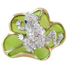 Vintage Figural Frog on a Lily Pad Plique-a-Jour Pin