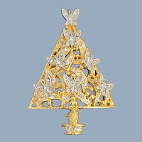 Vintage GRAZIANO Dimensional Butterflies Christmas Tree Pin