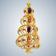 Vintage HEDY Mod Spiral Rhinestone Christmas Tree Pin Book Piece