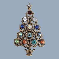 Vintage HOLLYCRAFT Multi Rhinestone Christmas Tree Pin