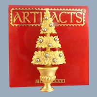 Vintage JJ Golden Topiary Christmas Tree Pin OOC