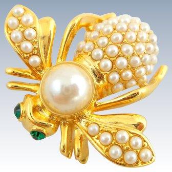 Vintage JOAN RIVERS Sim Pearl June Birthstone Bee Pin