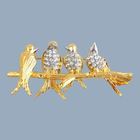 Vintage JOAN RIVERS Birds on a Branch Pin
