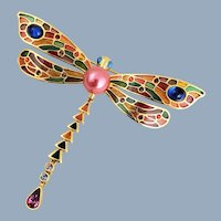 Vintage JOAN RIVERS Plique A Jour & Crystal Dragonfly Pin