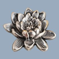 Vintage JOSEFF of HOLLYWOOD Silver Water Lily Flower Pin